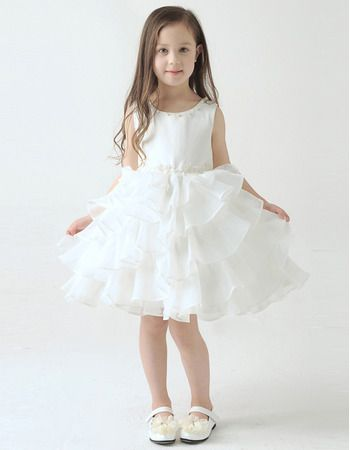 0bfd48d107a Find pretty a-line knee length short tiered skirt organza flower girl  dresses