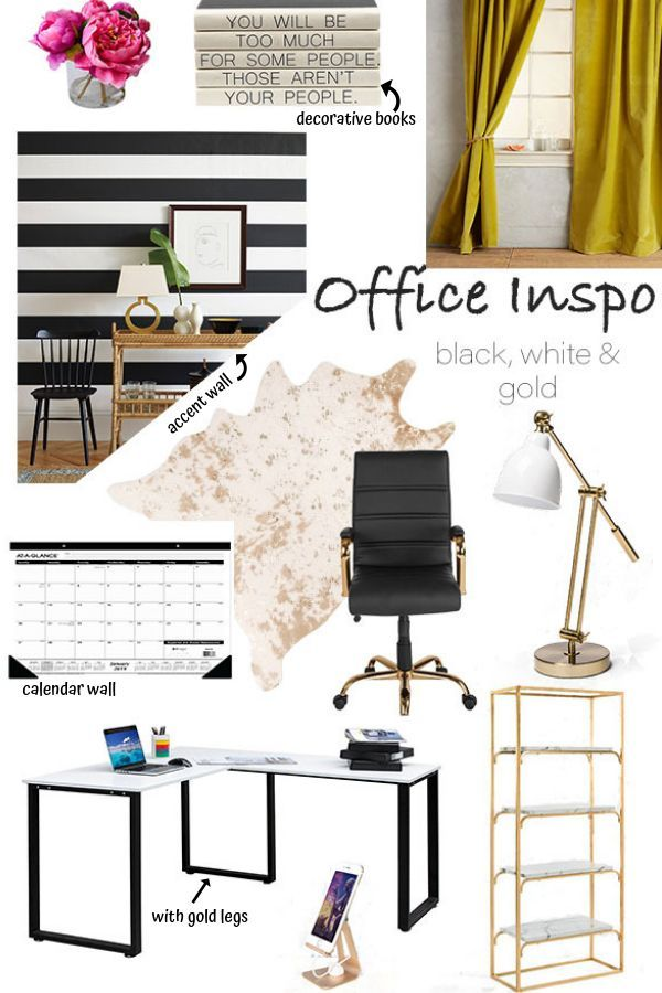 Home Office Makeover Black White And Gold Part 1 Gold