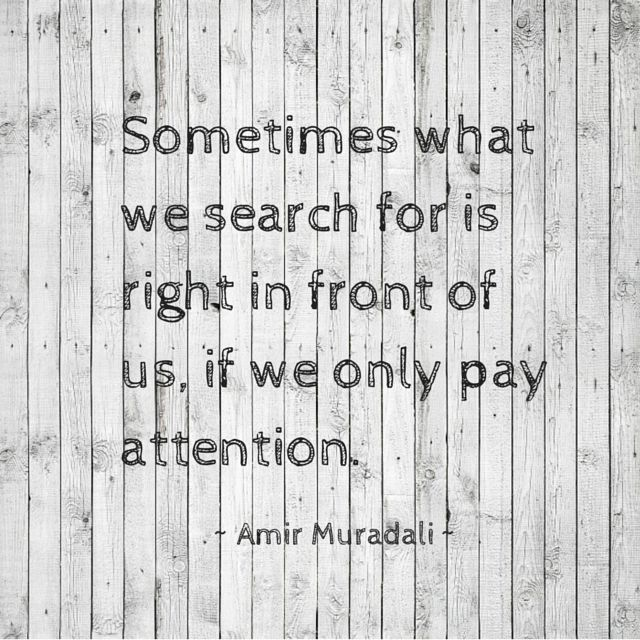 Sometimes what we need to do is simply pay more attention.