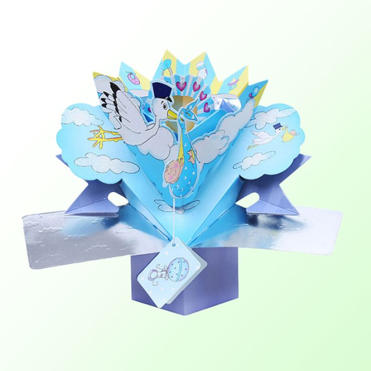 Baby 3D Birthday Greeting Cards Paper Craft Baby Birthday Souvenirs Wishes Card Gift Party Supplies