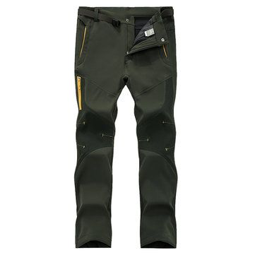 Mens Outdoor Sport Pants Elastic Waist Soft Shell Warm Fleece Lining Waterproof Quick-Dry Trouser - Newchic Mobile.