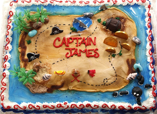 Pirate map sheet cake