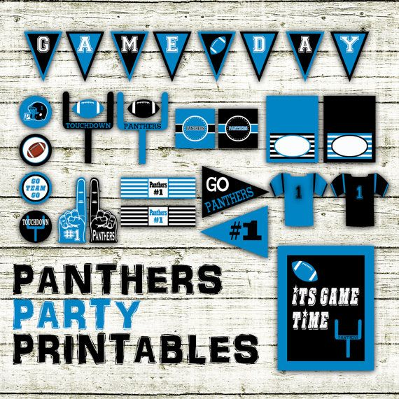 Carolina Panthers Football Party Printables - Super Bowl Party Idea - SuperBowl 50 Banner and Decorations