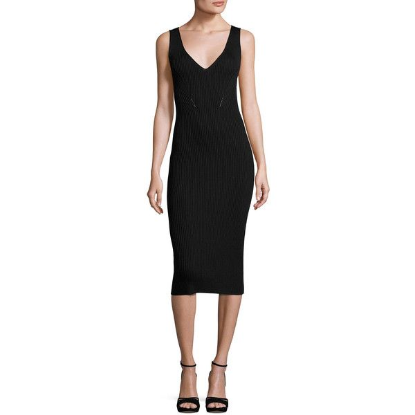 Below the knee black sheath dress