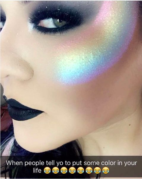 This rainbow-tinted cheek prism: | 12 Insane Highlighter Makeup Trends You Probably Don't Have The Guts To Try