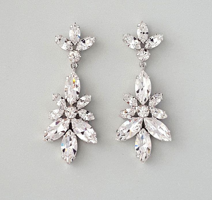 Nature Inspired Swarovski Crystal Chandelier Earrings