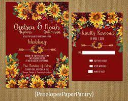 sunflowers and roses wedding invitation ...
