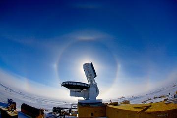 South Pole Telescope in profile.