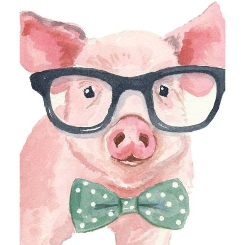 [#AnimalsWearingGlasses, #IntellectualAnimals, #Pig, #Glasses, #Bowtie #Nerdy]WaterInMyPaint (Etsy)