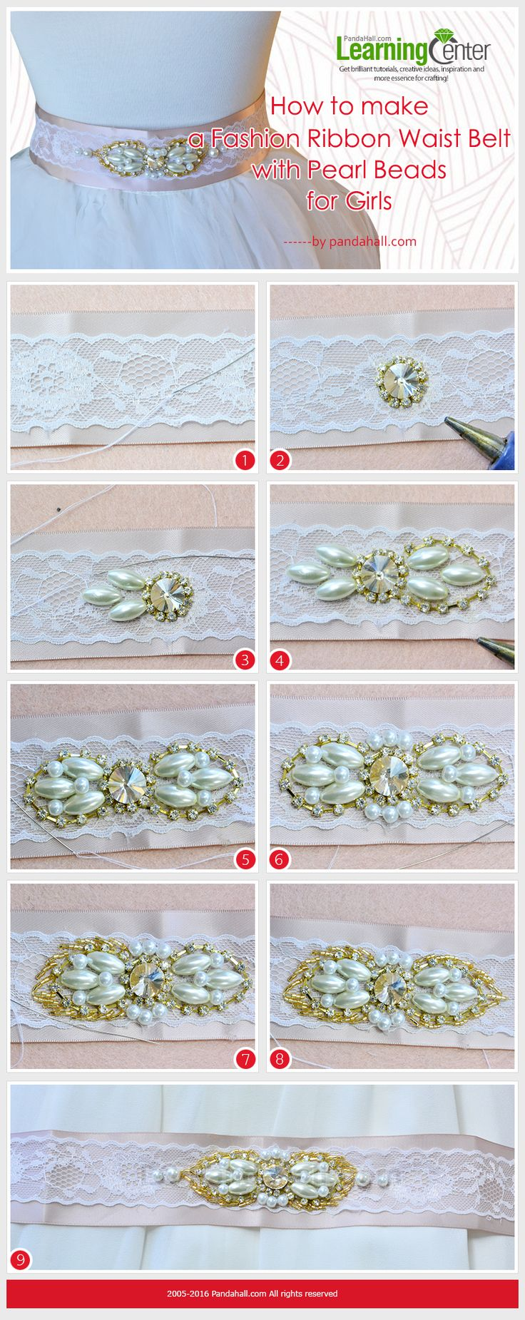 How to Make a Fashion Ribbon Waist Belt with Pearl Beads for Girls #waistbelt #diybelt #pandahall   PandaHall Promotion: use coupon code MayPINEN10OFF for 10% off for your orders, valid time from May 18 to May 31.