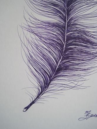 purple Ostrich feather drawing by maggiegeobax - for sale on Etsy