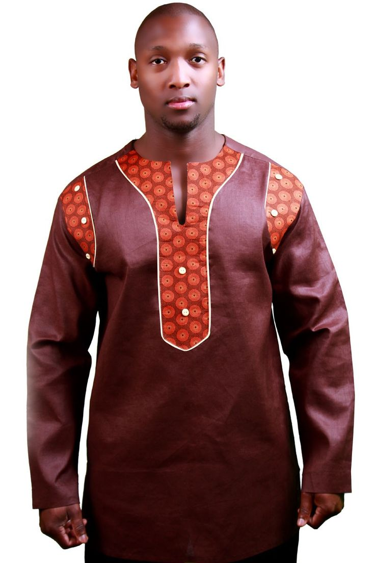 Tashqui, an elegant formal mens African top made from top quality Linen fabric with South African Shweshwe fabric accents. See Photo gallery for current pattern (Main image)