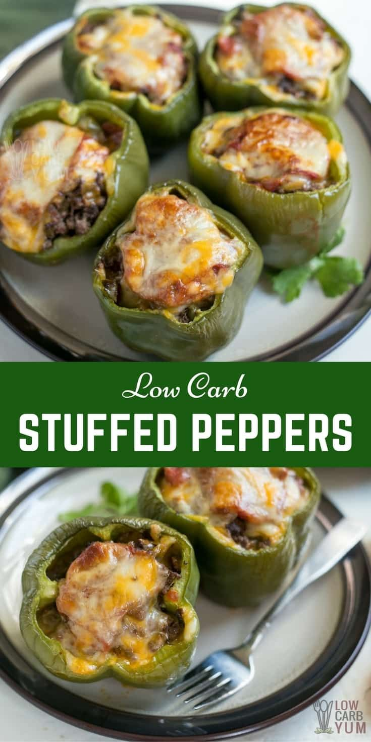 A meaty low carb stuffed peppers recipe that makes a tasty keto friendly meal. It can even be made ahead and frozen for an easy meal any time. | LowCarbYum.com via @lowcarbyum