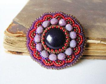 Rood geel broche Bead embroidery broche Beaded door MisPearlBerry