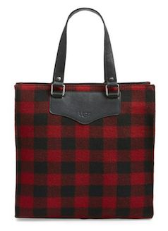Red and black plaid tote bag