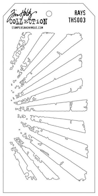 10,5 cm x 21,5 cm. Tim Holtz rays stencil