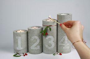 Beton Kerzenhalter mit Zahlen Prägung Adventskran…