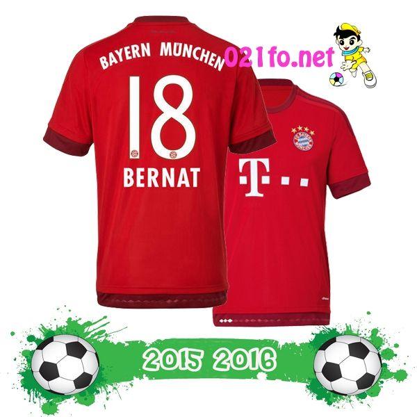 Destockage foot Maillot Bernat Bayern Munich 2016 domicile rouge soldes