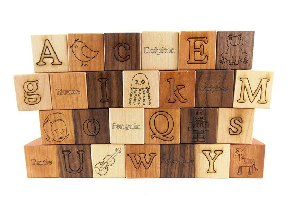 26 Picture Alphabet Building Blocks Natural  Organic -Wooden Toy Blocks