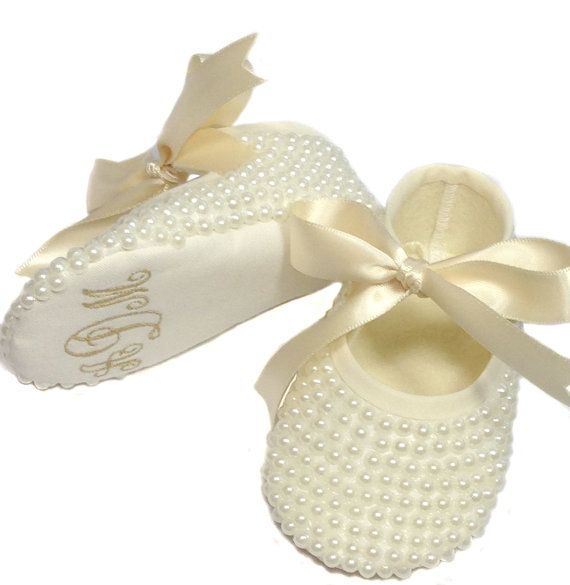 Pearl Covered Baby Shoes -Baby Baptism Shoes - Pearl Ivory Booties - Bling Baby Shoe  - Princess Slippers - Christening Baby Shoes