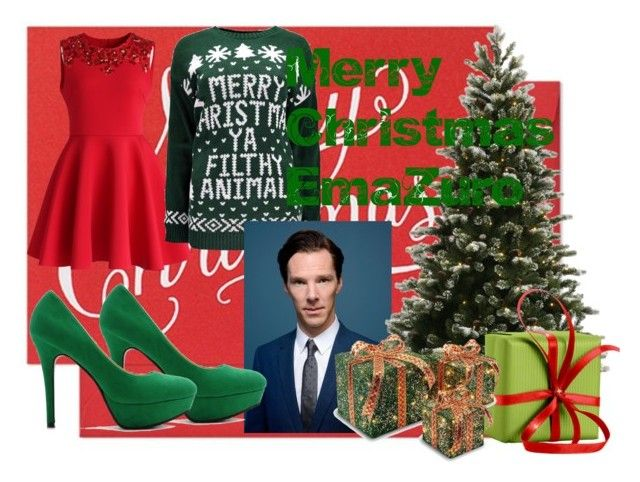 Christmas with Benedict Cumberbatch by slytheriner on Polyvore featuring Chicwish, Ollio, Sugar Paper and NOMA