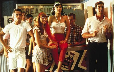 robert rusler, page hannah, phoebe cates, and tyrone power jr. in shag the movie