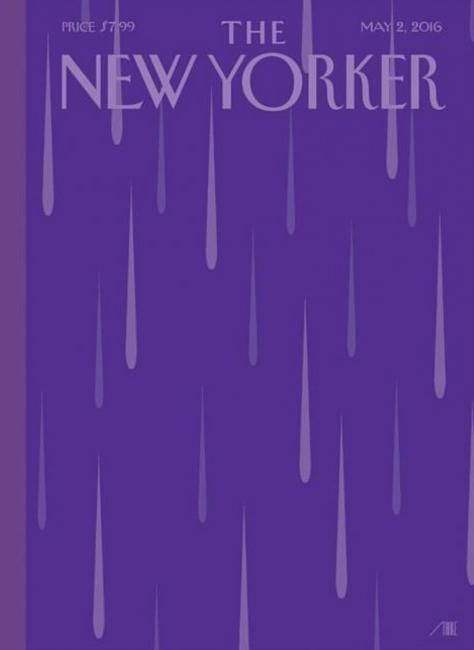 "Gold SPD Award 2017  ""Purple Rain"" (Prince RIP) awarded gold for Best Illustrated Cover by the aces at SPDdesigners last month       The New Yorker , Art Bob Staake      Art Editor: Françoise Mouly      Editor: David Remnick"