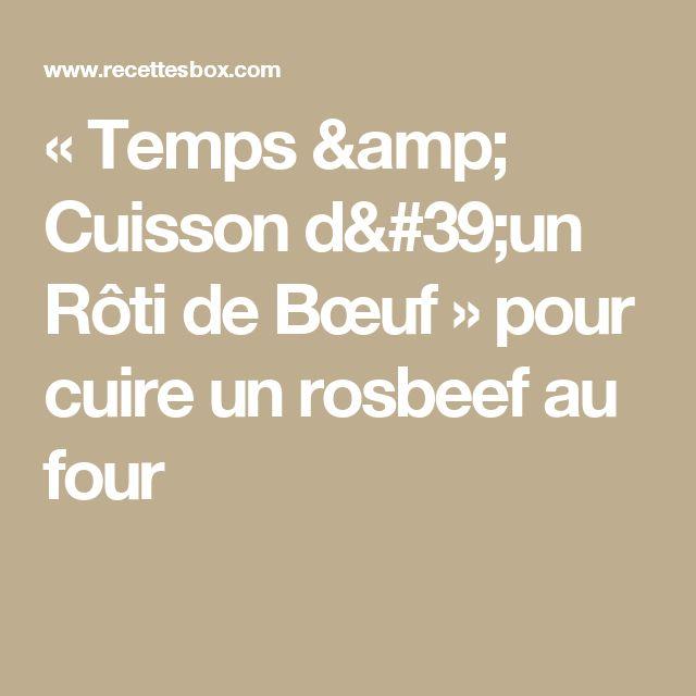 « Temps & Cuisson d'un Rôti de Bœuf » pour cuire un rosbeef au four