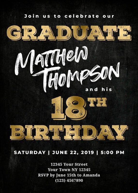 Graduation Invitation Boy Picture 18th Birthday Invitation Boy Picture 18th Birthday And Gradu Boy Birthday Invitations Graduation Invitations Grad Invitations