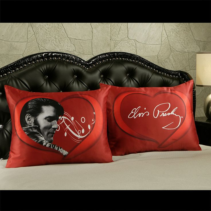 "Elvis Presley Home Bedding - ""Burning Love"" Pillow Shams - Standard or King Size, $29.95 (http://www.elvispresleyhomebedding.com/burning-love-pillow-shams-standard-or-king-size/)"