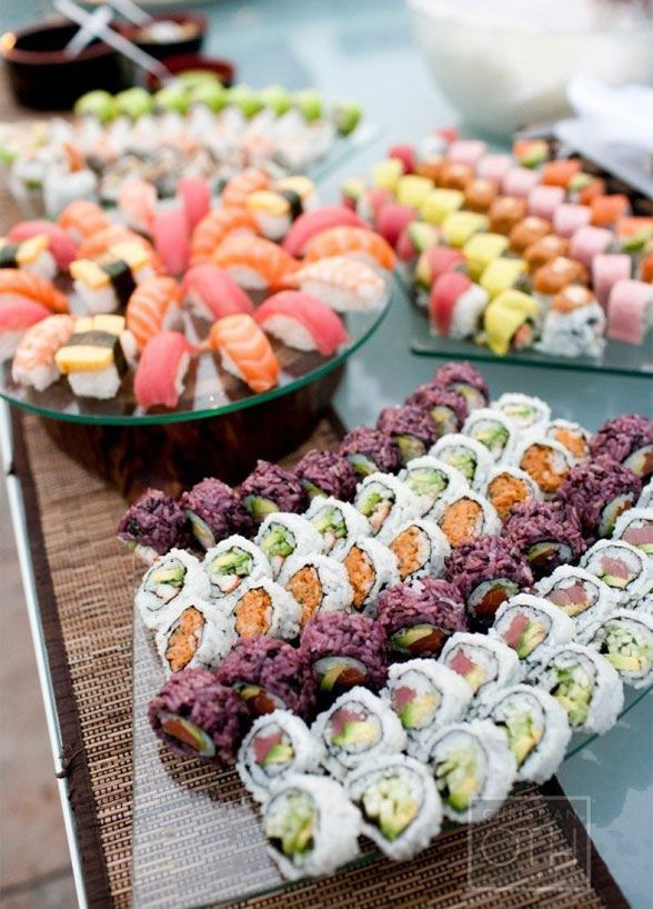 10 Food Station Ideas Guests Will Go Crazy For: Get the party rolling with a sushi station. Click to get more food station inspiration: http://www.colincowieweddings.com/food-and-drink/10-food-station-ideas-guests-will-go-crazy-for