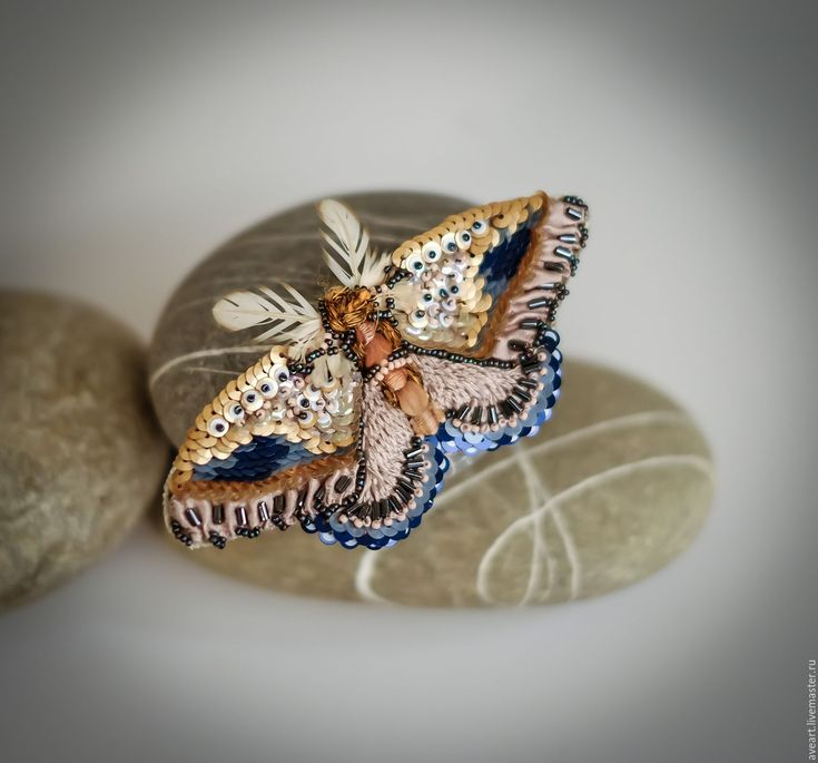 Dawn Seeker. Embroidered butterfly with french sequins, antique silk ribbon and feathers.