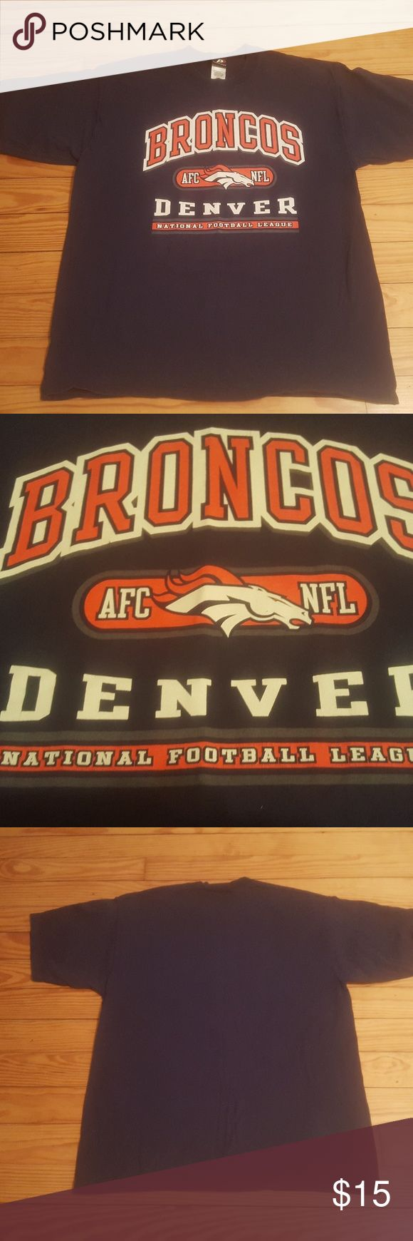 Denver Broncos mens short sleeve t-shirt,XL Denver Broncos mens short sleeve t-shirt size XL.Pre-owned in still in new condition from a clean and smoke-free environment. Shirts Tees - Short Sleeve