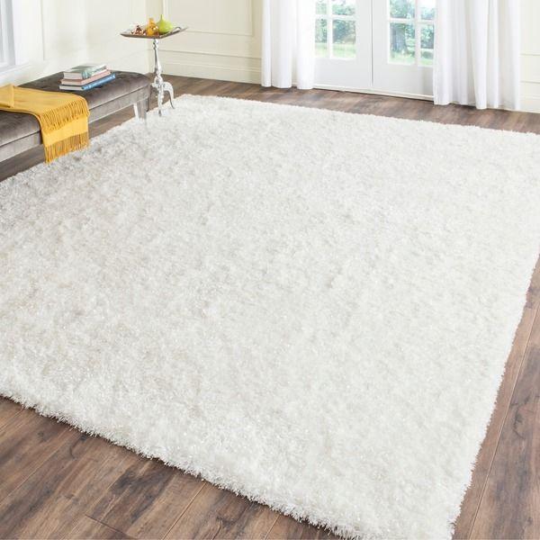 7' square. Shiny-ish Safavieh Hand-tufted Malibu Shag White Polyester Rug (7' Square)