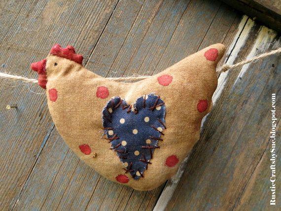 Chicken Garland-Primitive Easter Eggs por RusticCraftsbySue en Etsy