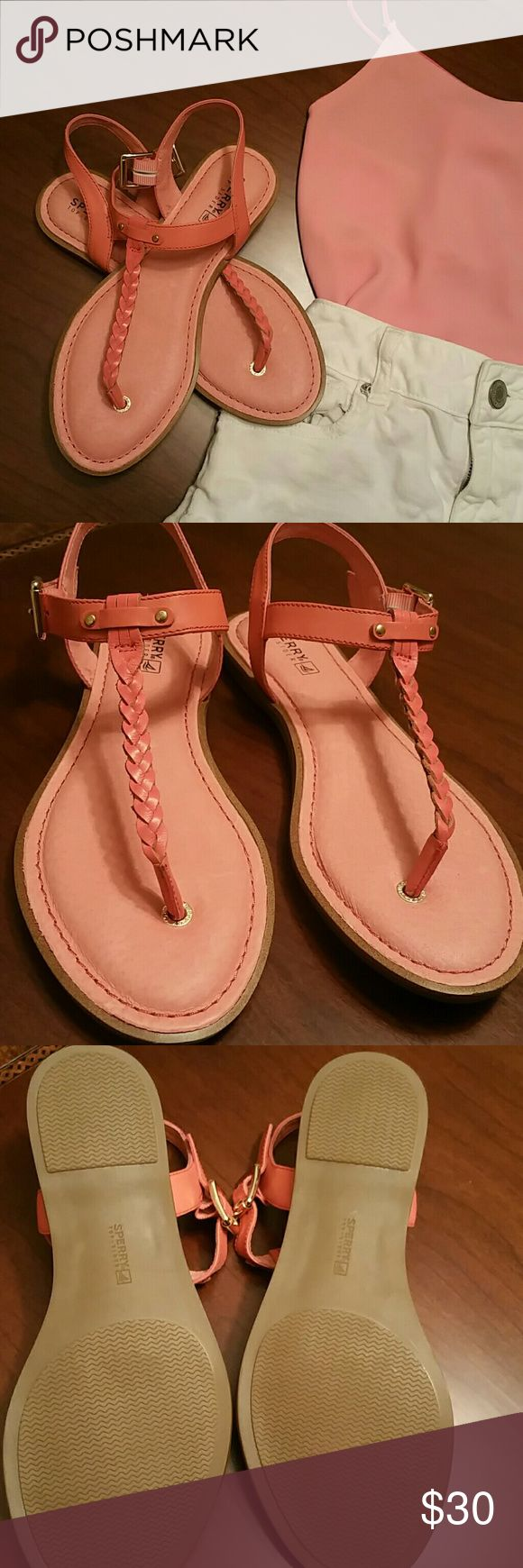 Coral Sperry sandals Coral Sperry sandals leather upper.  Never worn Sperry Shoes Sandals