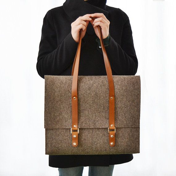 Italian wool felt satchel - anonimaMente.  I think it's important to play with different patterns, textures, and fabrics when it comes to bags.  The woven bag with the leather handles are a perfect duo for the work place.