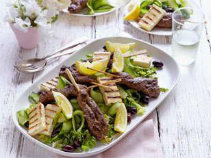 Greek Barbecued Lamb and Haloumi Salad