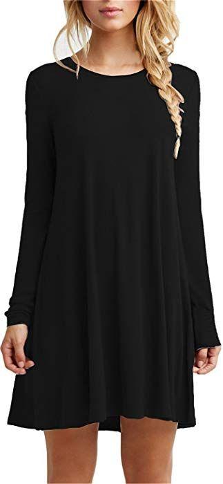 e4bb0c4940a4 Tinyhi Women s Casual Plain Long Sleeve Loose Swing Cotton Dress ...