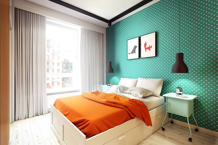 2 Bright And Cozy Apartments With Simple Furnishings : Cheerful Bedroom Design in Cozy Apartment with White Polka Dots Teal Wall Decor and Grey Bedroom Curtain also Small Pale Green Nightstand Table and Black Shade Hanging Lamp
