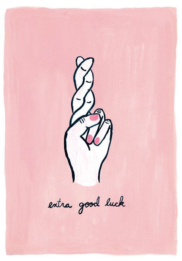 Fingers Crossed (extra good luck) - Jenna Russelle Illustration and Surface Pattern Design  Available as a fine art print: https://www.etsy.com/ca/listing/249628015/extra-good-luck-fingers-crossed-good?ref=shop_home_active_1                                                                                                                                                                                 More