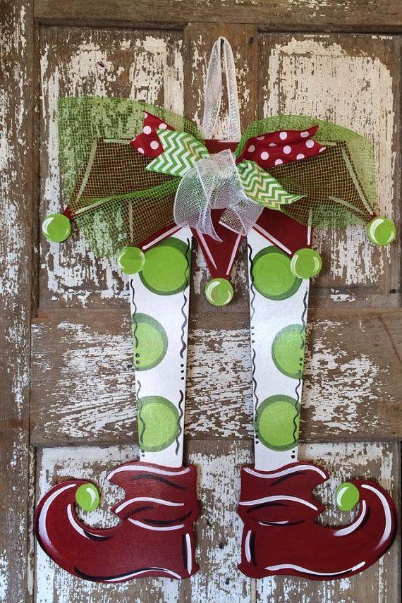 Christmas Door Hanger Elf Legs Christmas by SouthernStyleGifts