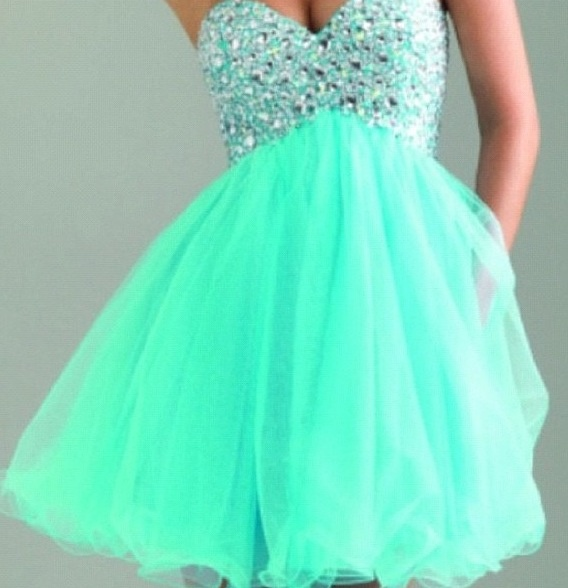 Short Seafoam Prom Dress