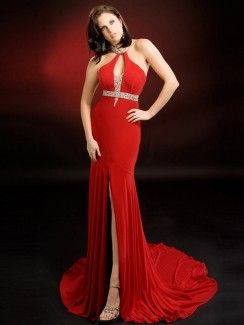 A-line Halter Beading Sleeveless Floor-length Chiffon Prom Dresses Evening Dresses