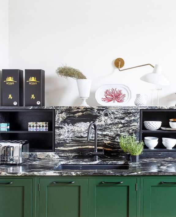 Dark Green Kitchen Cabinets With Black And White Marble Countertops Sfgirlbybay Green Kitchen Cabinets Green Kitchen Dark Green Kitchen