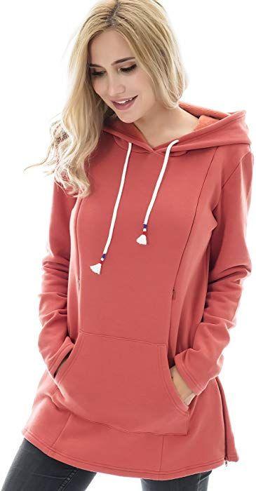 79f6b547da00b Bearsland Women's Maternity Sweater Clothes Nursing Sweatshirt  Breastfeeding Hoodie with Pockets, rustyred, XL at Amazon Women's Clothing  store:
