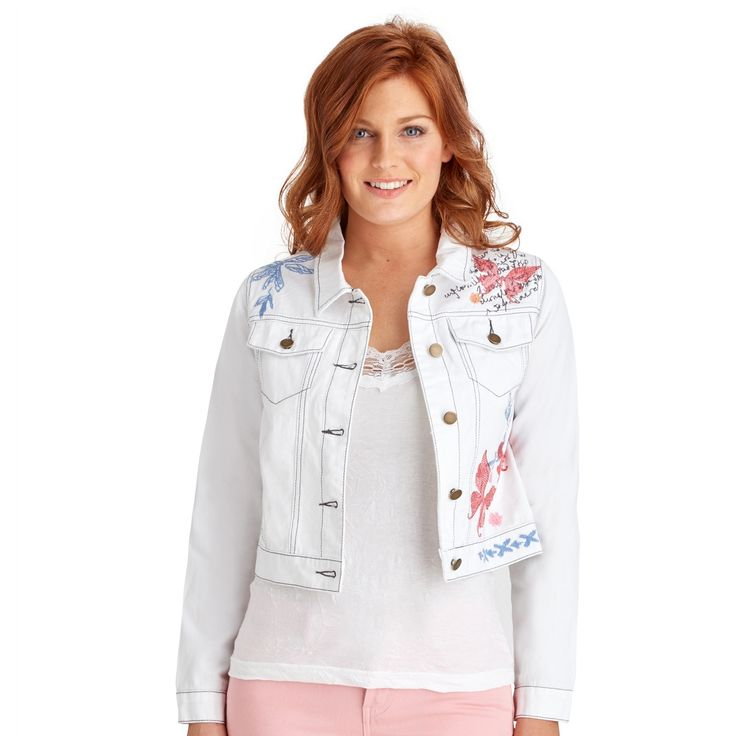 Cute and quirky, this funky jacket is packed with personality. Featuring beautiful embroidery and contrast stitching, it's the perfect lightweight twill jacket for festivals or simply going out and about.   Approx Length: 52cm