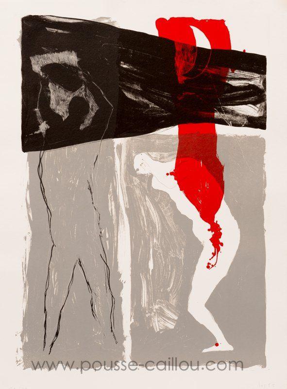 Patrick Loste - Cain et Abel Lithographie  . 1992