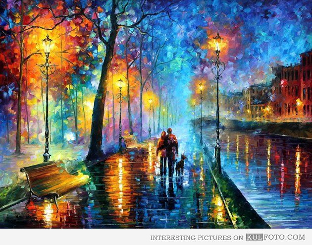 Autumn oil painting by Leonid Afremov - Beautiful painting of a couple and a dog walking by the river one Autumn evening.
