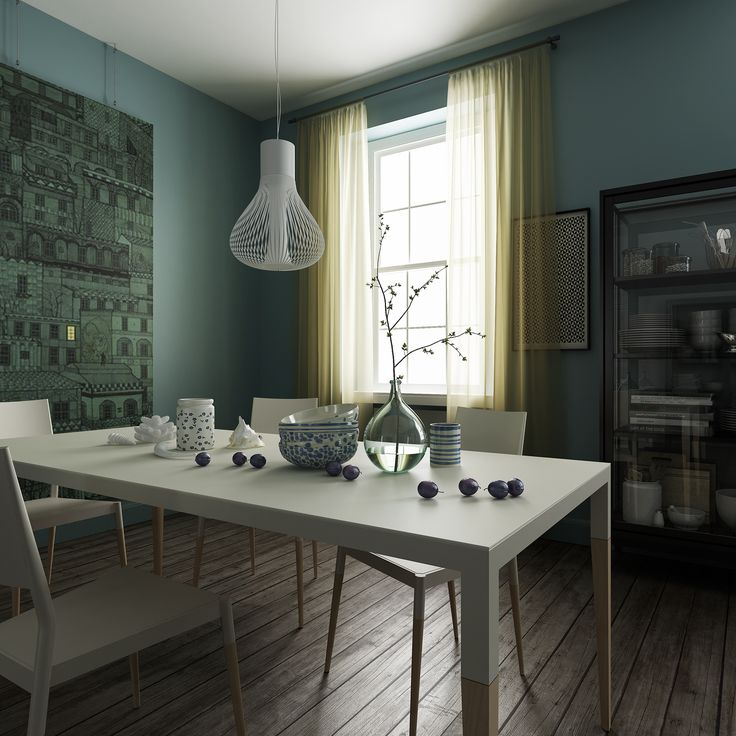 Dining room detail. Private apartment in Riga, Latvia by Linee Studio featuring Epònimo's Bic table and chairs.